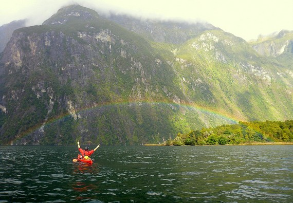 Milford Sound double rainbow