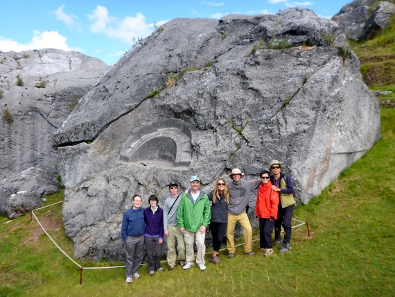 "Group at Quillarumi ""Moonstone"" in the Quechua language trek"