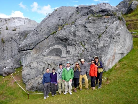 """Group at Quillarumi """"Moonstone"""" in the Quechua language trek"""