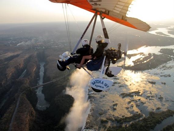 Flying a micolight over Victoria Falls in Livingstone, Zambia