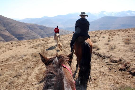 Pony trekking in Lesotho