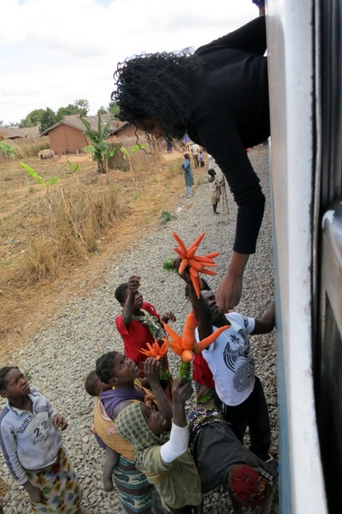 Shopping from the train window in Mozambique