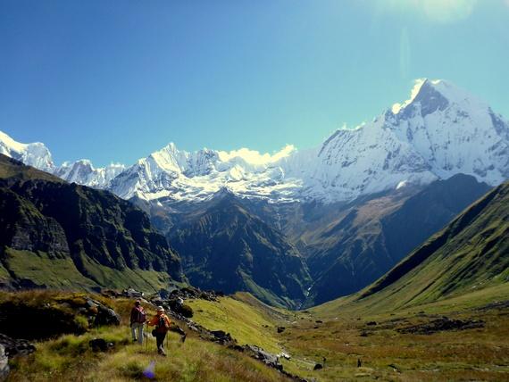 Trekking in Nepal beneath Machapuchare