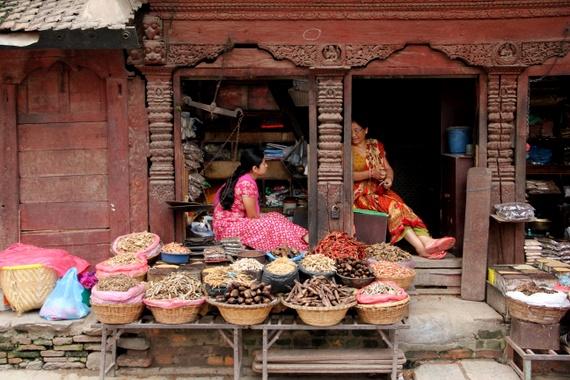Ladies selling food and flowers in Durbar Square, Kathmandu