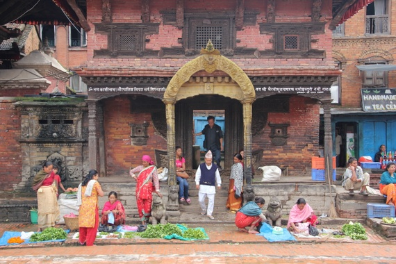 Bhaktapur street market scene