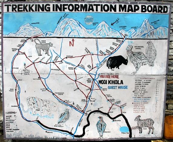 apurna Sanctuary Trail Map in Nepal