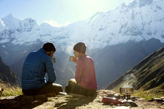 Morning coffee with our MSR stove over Fish Tail, Nepal