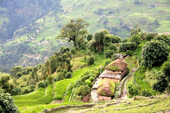 Annapurna Sanctuary villages on hillside