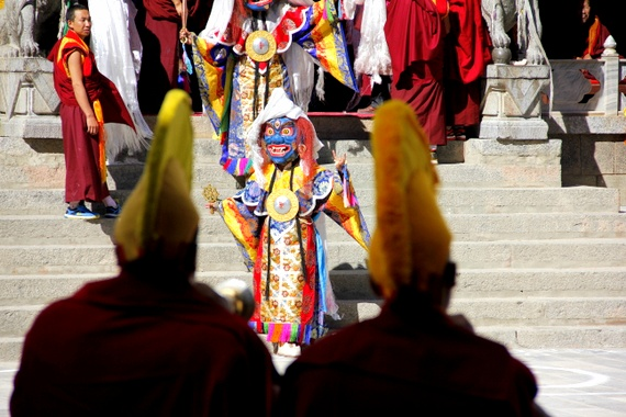 Gedong Mask Festival dancers Benzilan China
