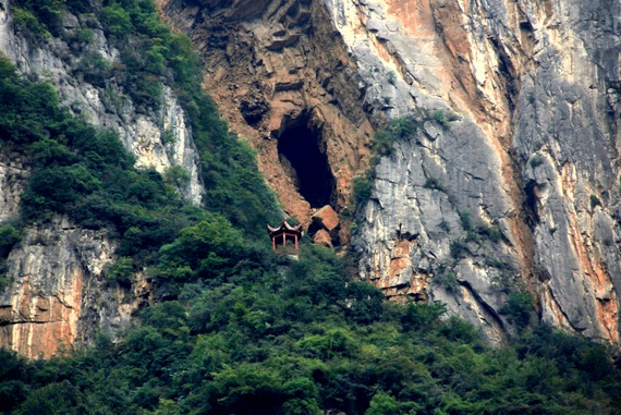 Hanging coffins in the cliffs of the Yangtze