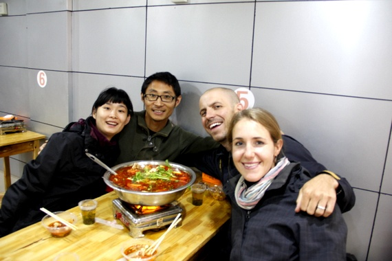 Lizzie and Alex for some Hot Pot in Yichang China
