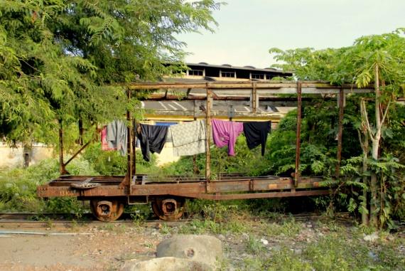battambang train track village