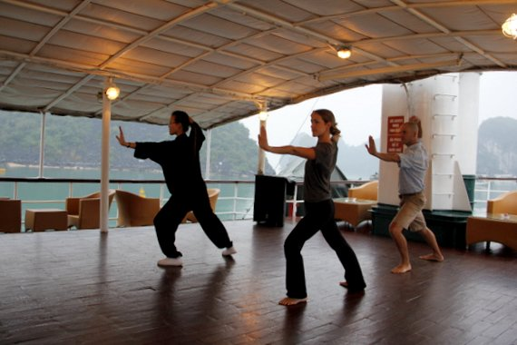 Tai chi on Emeraude Cruise Halong Bay
