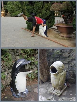 penguin shaped public trash cans