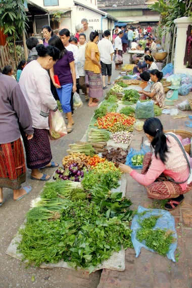 Vegetable market in Luang Prabang