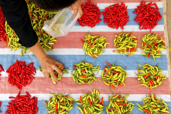 Chili Peppers at the Market in Luang Namtha