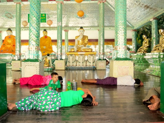 Sleeping in a temple in Myanmar