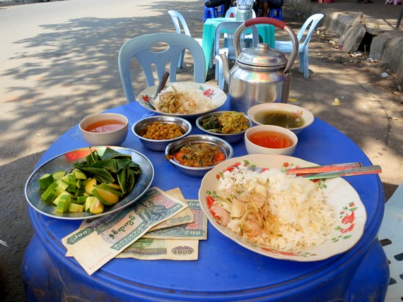 Burmese street food $.75/person for this meal