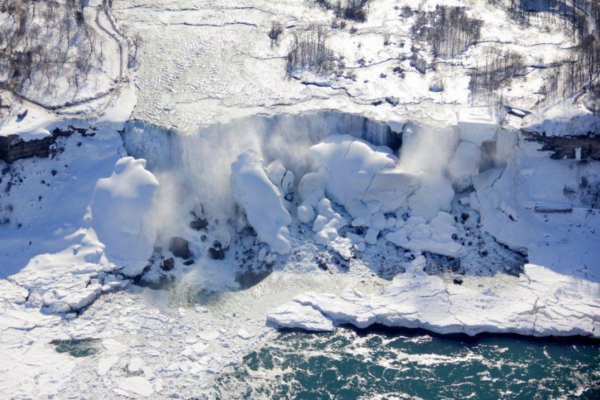 Frozen Niagara Falls from the Air