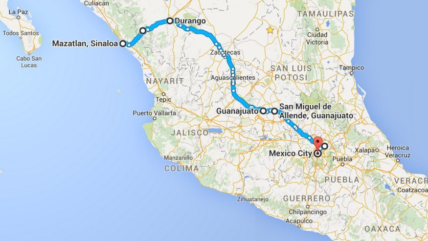 Mexico Road Trip Map