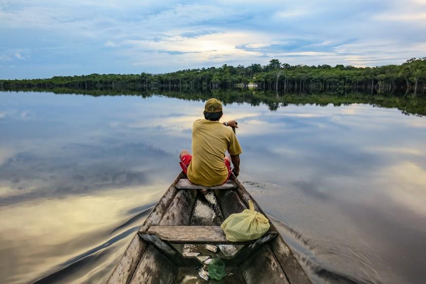 Canoeing Amazon River
