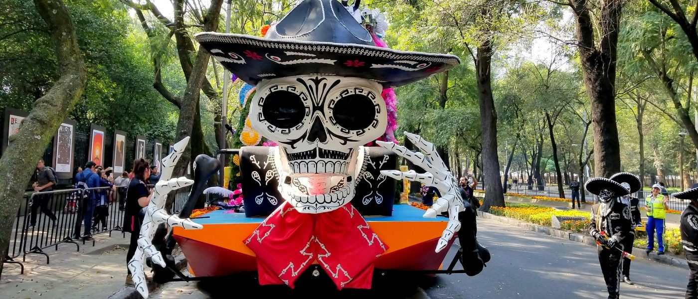Marching in Mexico City's Day of the Dead Parade