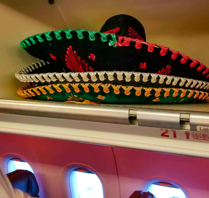 sombreros on a plane