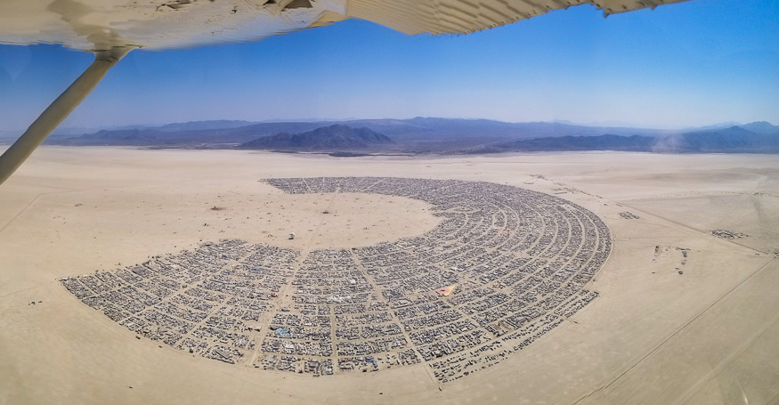 View of Burning Man from a plane