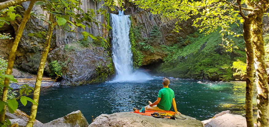Picnic by a waterfall