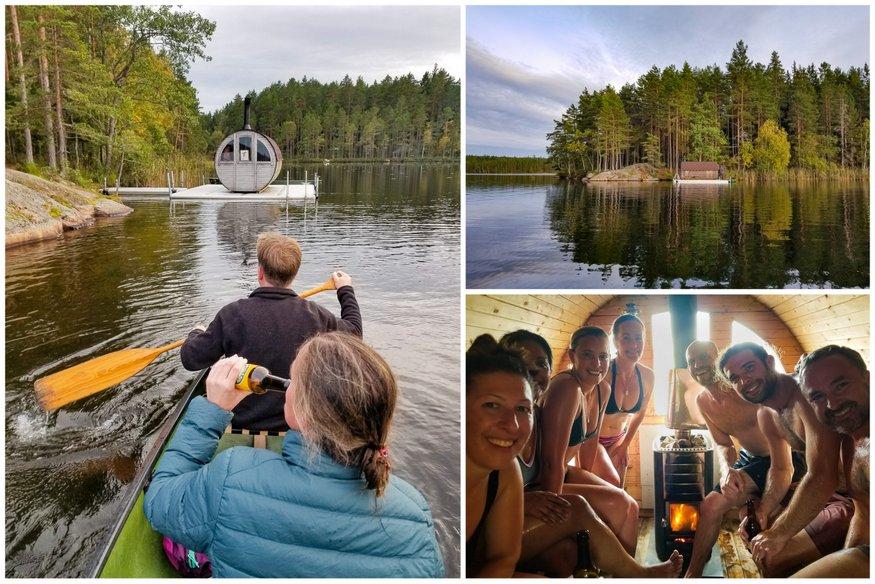 Canoe to Floating Sauna in Sweden