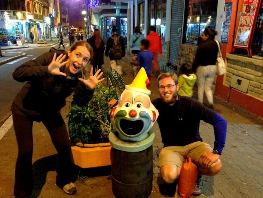 Ecuador clown trashcan